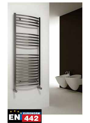 Reina Diva Curved Standard Electric Towel Rail 500 x 1200mm Chrome