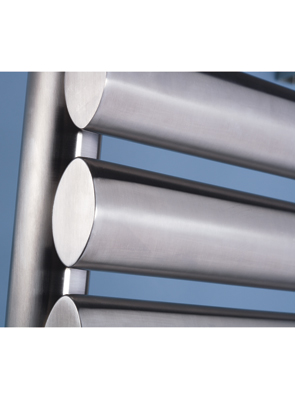 MHS Oval Brushed Stainless Steel Heated Towel Rail 500 x 800mm