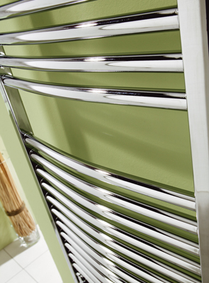 MHS Space 500 x 1200mm Bow Heated Towel Rail Chrome