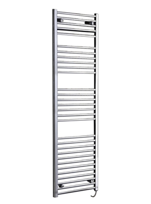 Phoenix Flavia Straight 400 x 1200mm White Electric Towel Rail