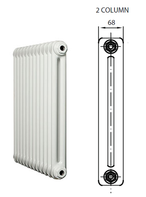 Reina Colona 2 Column Horizontal Radiator White 1010 x 500mm