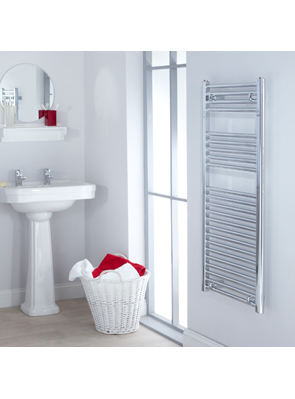 Biasi Naonis 300 x 1600mm Chrome Straight Heated Towel Rail