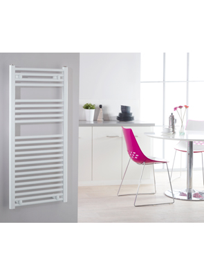 Biasi Naonis 600 x 1100mm White Straight Heated Towel Rail
